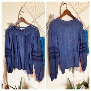 Max Jeans-Boho Navy Blue Crochet Long Sleeve Top
